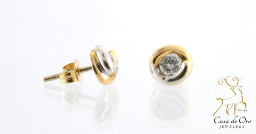 Diamond Earrings 14K Two Tone