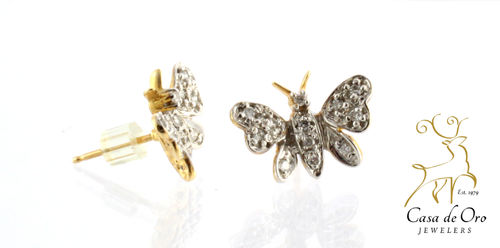 Diamond Butterfly Earrings 10KY