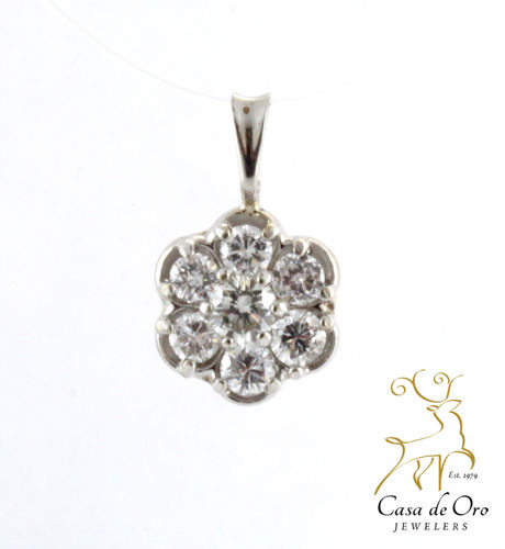 Diamond Cluster Pendant 14K White