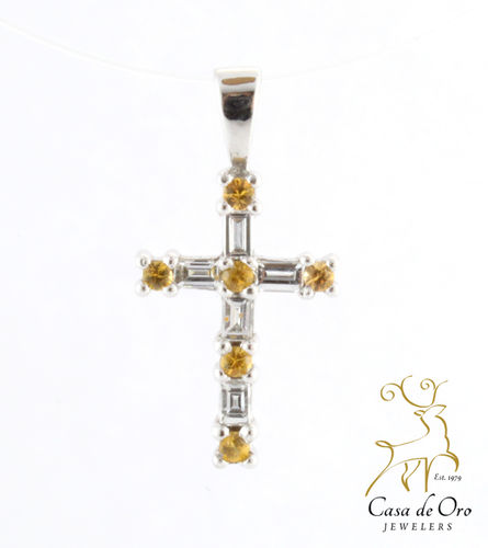 Sapphire and Diamond Cross 14K White