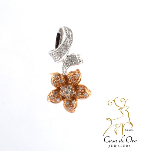 Diamond Flower Pendant 14K Two Tone