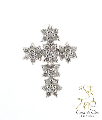 Diamond Cluster Cross Pendant 14KW