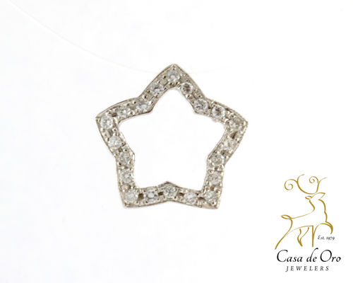 Diamond Star Pendant 14K White