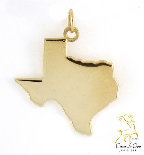 Texas Map Charm 14K Yellow