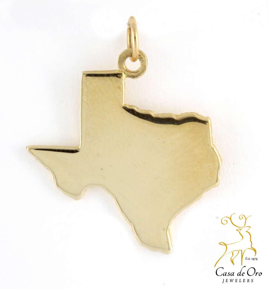 Texas Map Charm 14K Yellow