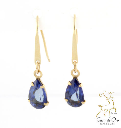 Sapphire (Simulated) Earrings 14K Yellow