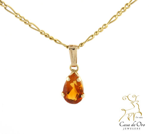 Citrine Pendant 14K Yellow