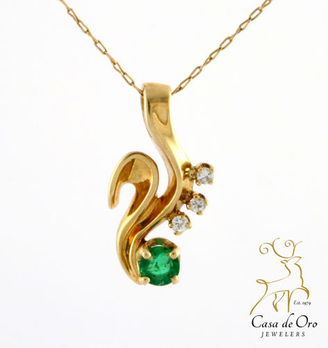 Emerald & Diamond Pendant 14K Yellow