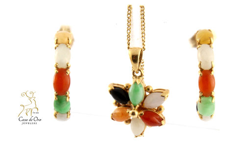 Jade Multi-color Set 14K Yellow