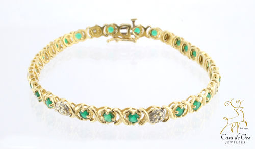 Green Onyx Bracelet 14K Yellow
