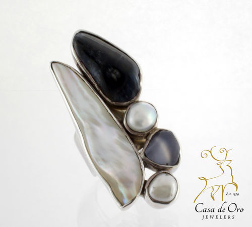Pearl & Jasper Ring Sterling