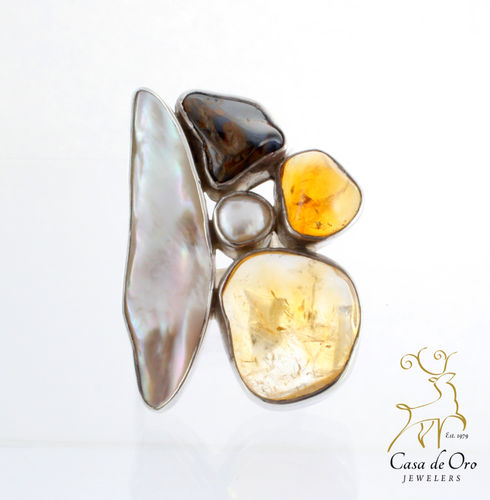 Pearl, Opal & Amber Ring Sterling