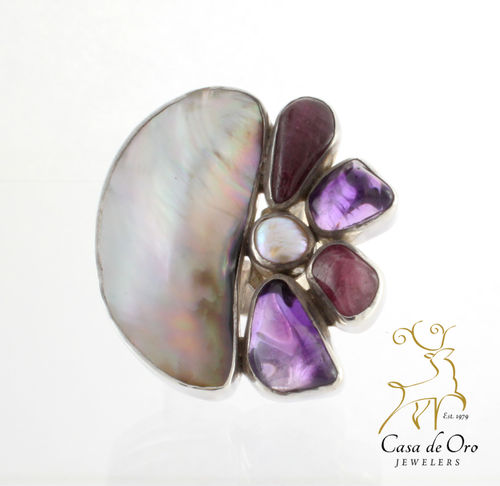 Black Lip Oyster & Amethyst Ring Sterling
