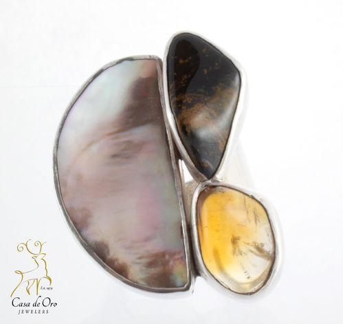 Oyster, Amber & Opal Ring Sterling