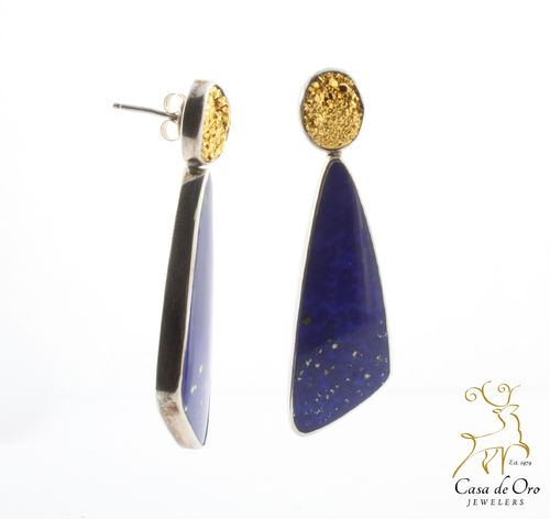 Sterling Lapis/ Druzy Earrings