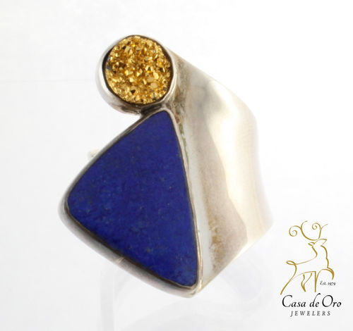 Sterling Lapis and Druzy Ring