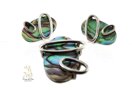 Sterling Silver Abalone Set