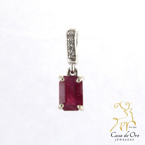 Ruby & Diamond Pendant 14K White