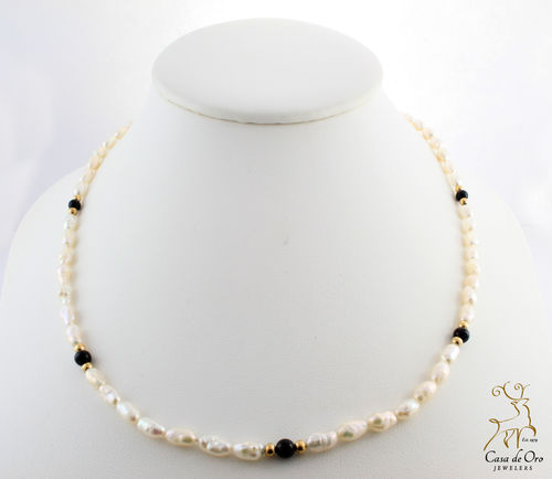 Freshwater Rice Pearls w/ Black Onyx 14KY