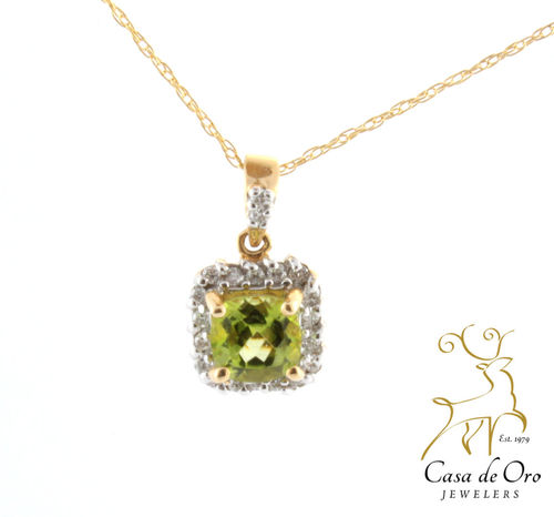Peridot & Diamond 14K Yellow