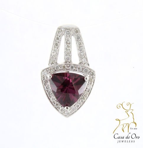 Tourmaline & Diamond Pendant 18K White
