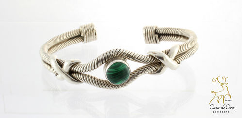 Malachite Cuff Bracelet Sterling