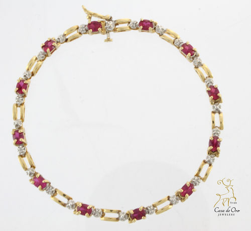 Ruby (Simulated) Bracelet 10K Yellow