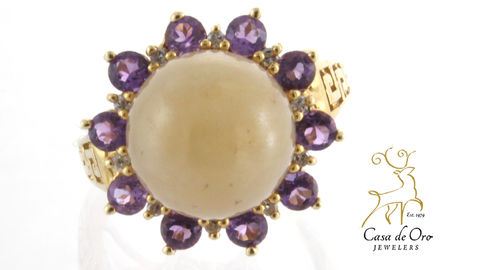 Jade & Amethyst Ring 14K Yellow