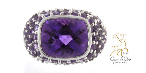 Amethyst Dome Ring 14K White