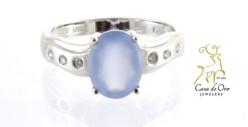 Chalcedony & Diamond Ring 14K White