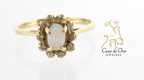 Opal & Diamond Ring 14K Yellow
