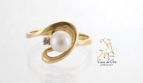 Pearl & Diamond Ring 14K Yellow