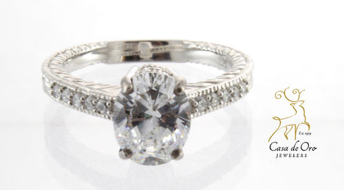Sterling Silver Rhodiumed Ring w/ CZ