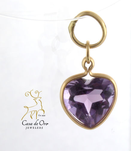 Amethyst Heart Pendant 14K Yellow