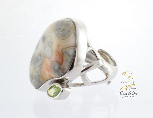 Crazy Lace Agate Ring Sterling