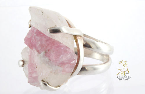 Pink Tourmaline Ring Sterling Silver