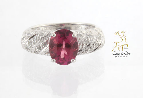 Tourmaline & Diamond Ring 18K White