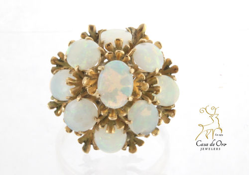 Opal Cluster Ring 14K Yellow