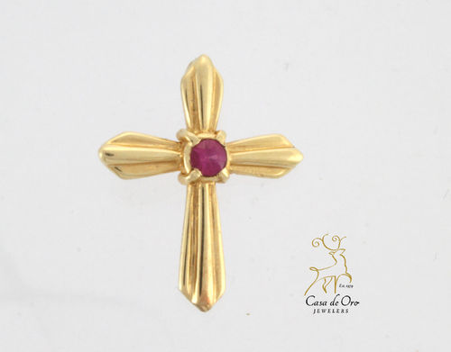 Ruby (Simulated) Cross 14K Yellow