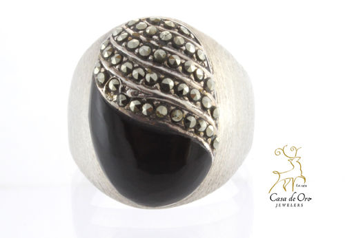 Black Onyx & Marcasite Ring Sterling
