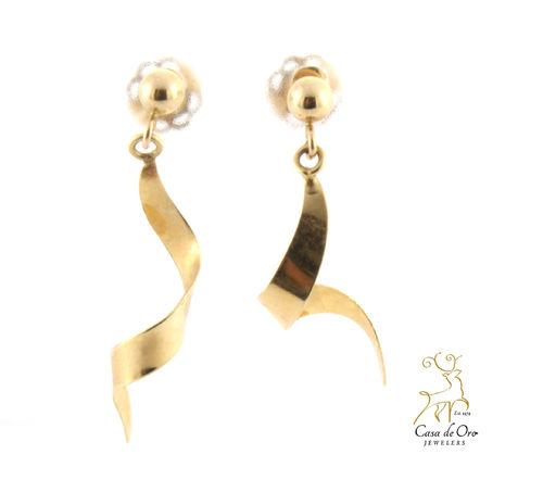 Gold Spiral Earrings 14K Yellow