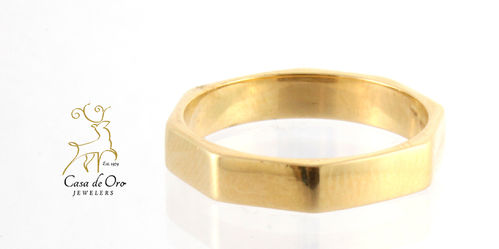 Gold Hexagon Shaped Band 14K Yellow