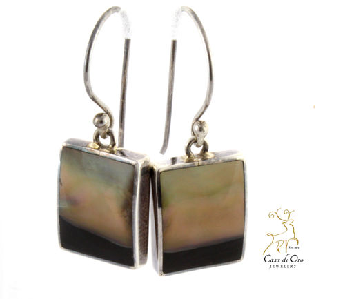 Black Lip Oyster Earrings Sterling Silver