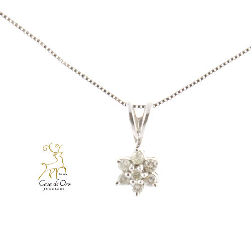 Diamond Cluster Pendant 10K White