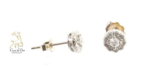 Diamond Cluster Earrings 10K White