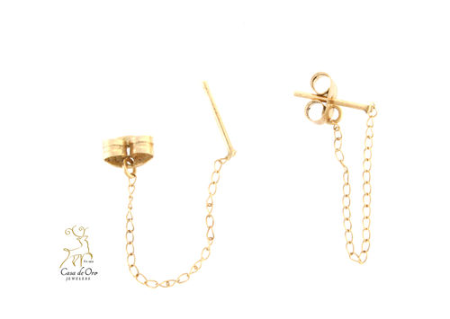 Gold Chain Dangle Earrings 18KY