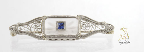 Sapphire (Simulated) Brooch 14KW