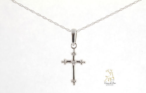 Diamond Cross Pendant 10K White