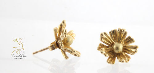 Gold Ball Earrings w/ Leaf Jackets 14KY