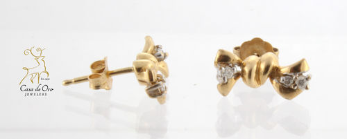Diamond Bow Earrings 14K Yellow
